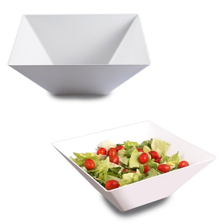 Kaya Collection - White Plastic Square Serving Bowls 96oz - Disposable or Reusable (3 Bowls) ()