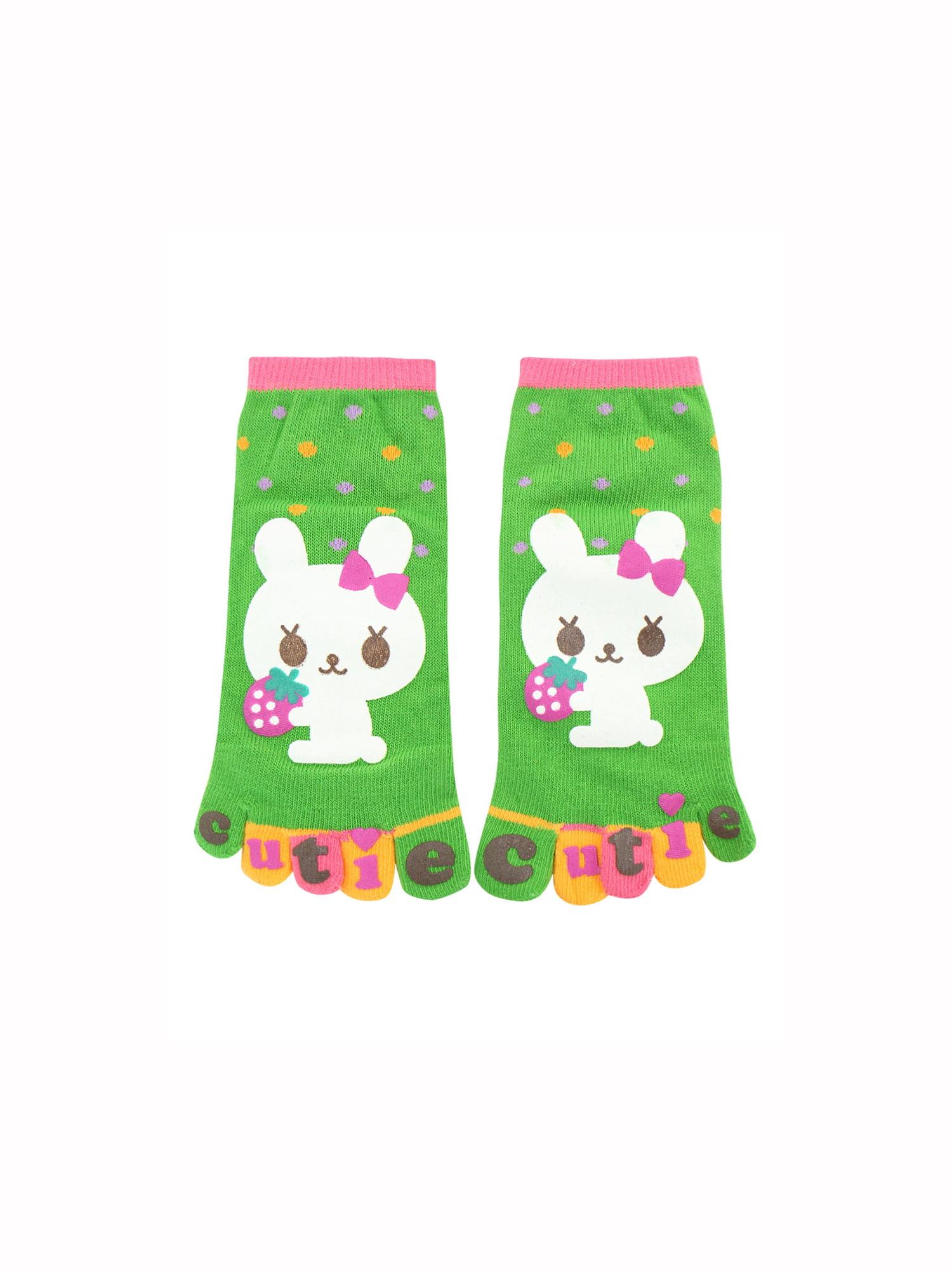 Saint Patrick Party Unique Bargains Girl's Rabbit Letters Print Ankle Length Stretchy Toe Socks Green (Size 8-9.5)