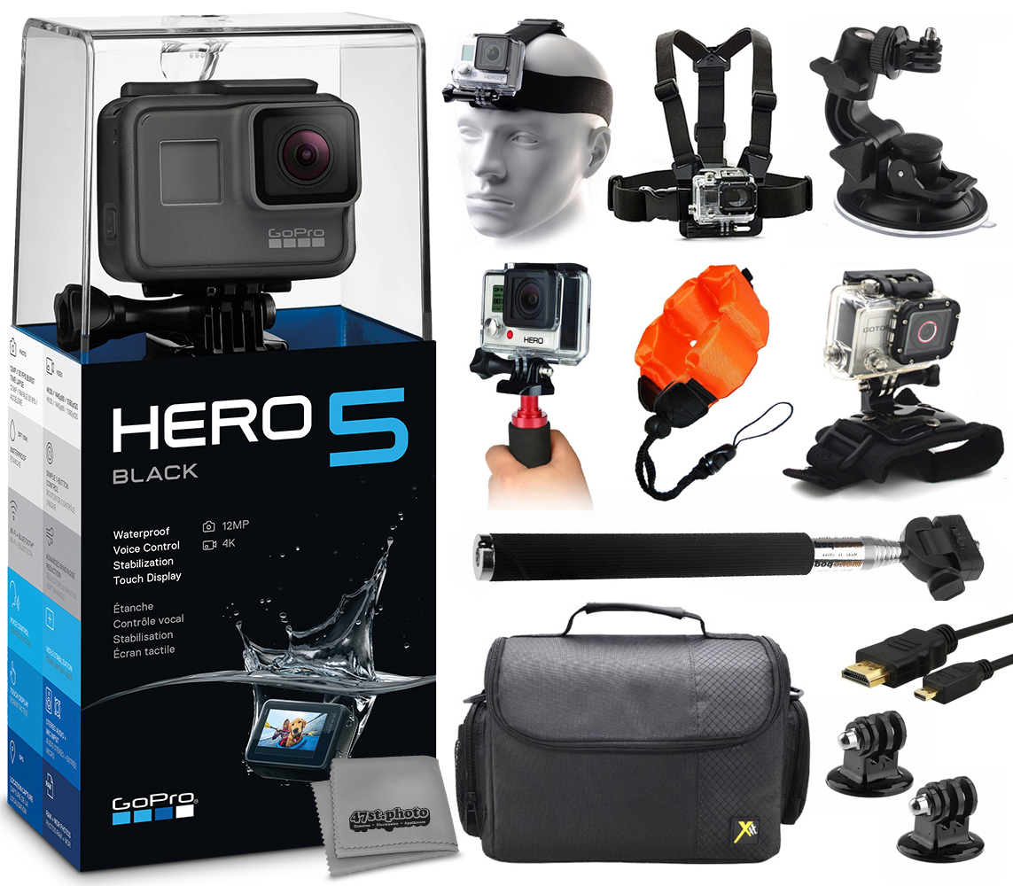 Buy GoPro HERO5 Black CHDHX-501 with Headstrap + Chest Harness + Suction Cup + Handgrip + Floaty Strap + Wrist Hand Glove +... by GoPro