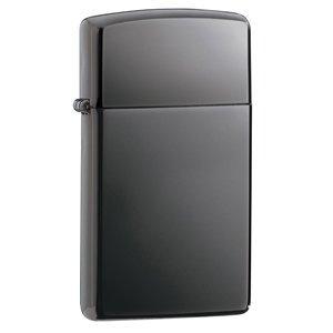 Zippo Pewter Emblem Black Crackle - Zippo Slim Black Ice Lighter