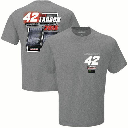 Kyle Larson Checkered Flag 2018 Monster Energy NASCAR Cup Series Race Schedule T-Shirt - Heather Gray - Rake Monster