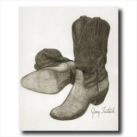 Old Western Rodeo Cowboy Boots Wall Picture Art Print (Old Western Cowboy)