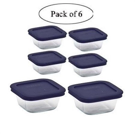 Pyrex Square Glass Food Storage Containers Set With Dark Blue Plastic Cover, Use For Storage Food , Baking Dish, And Lunch Box ( 2-4cup In 4-1cup With Blue Lids) (6, (Navy Blue Camtainer)