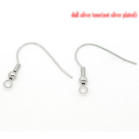 Sexy Sparkles 50 Pcs (25Pairs) Stainless Steel Ear Wire Hooks Earrings w/ Ball and Spring Silver Tone 21mm X 23mm