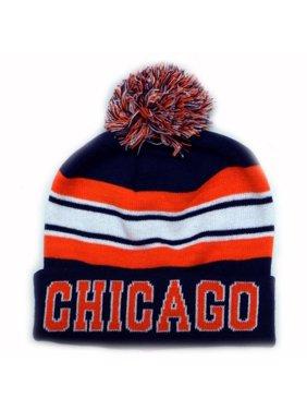 18b2f343002 Product Image City Hunter Sk940 Chicago Stripe College City Pom Beanie Knit  Hat (Navy orange)