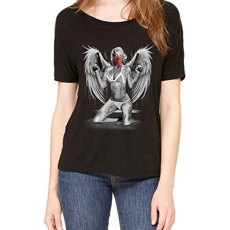 714904c48366 Mom's Favorite - Marilyn Gangster Wings Slouchy T-shirt Blonde Bombshell  Shirts - Walmart.com
