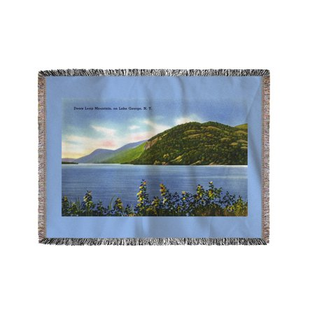 Lake George  New York   Lake View Of Deers Leap Mountain  60X80 Woven Chenille Yarn Blanket