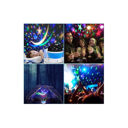 Rotating 360-Degree Romantic Cosmos Star, Sky and Moon Projector, 3 Modes, 4 LED (Best Baby Night Projector)