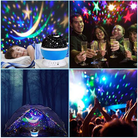 Rotating 360-Degree Romantic Cosmos Star, Sky and Moon Projector, 3 Modes, 4 LED Beads