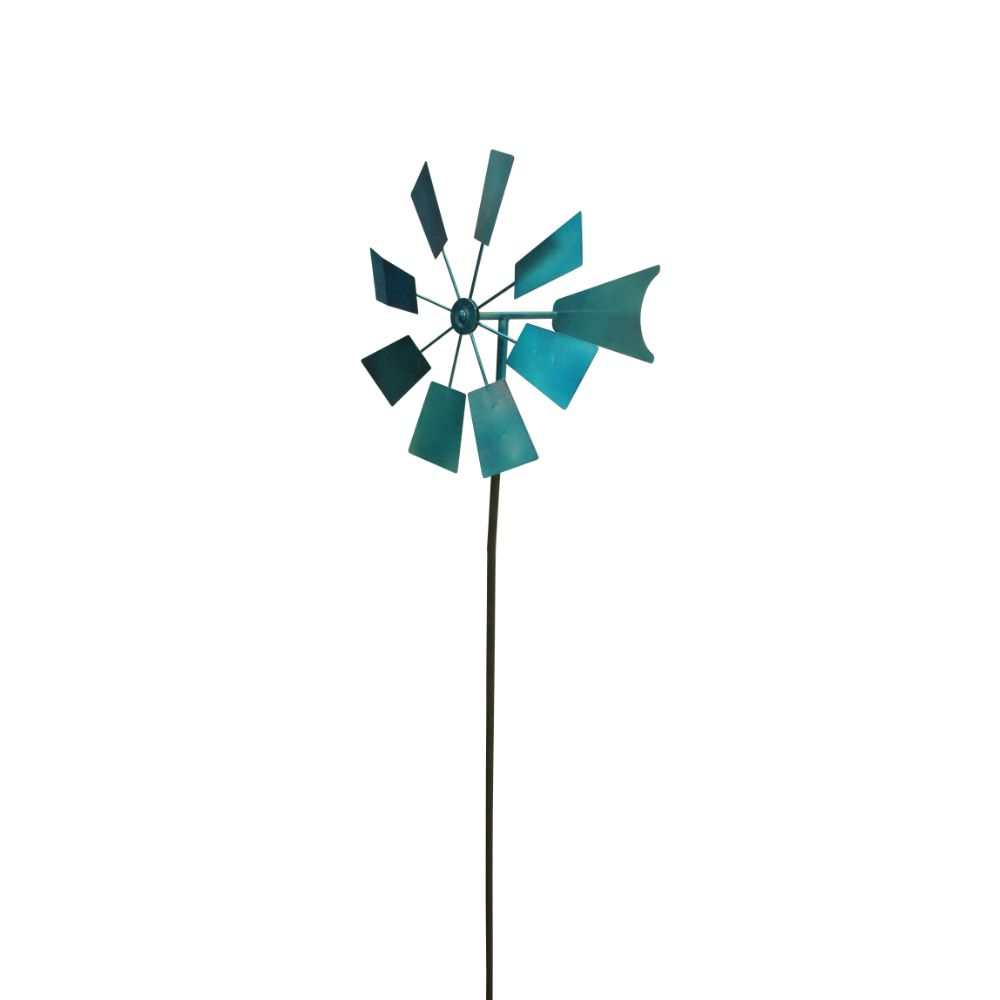 52 Inch Metal Windmill Stake Blue by Benzara