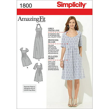 - Simplicity Misses' Plus Size 20W-28W Amazing Fit Dress Pattern, 1 Each