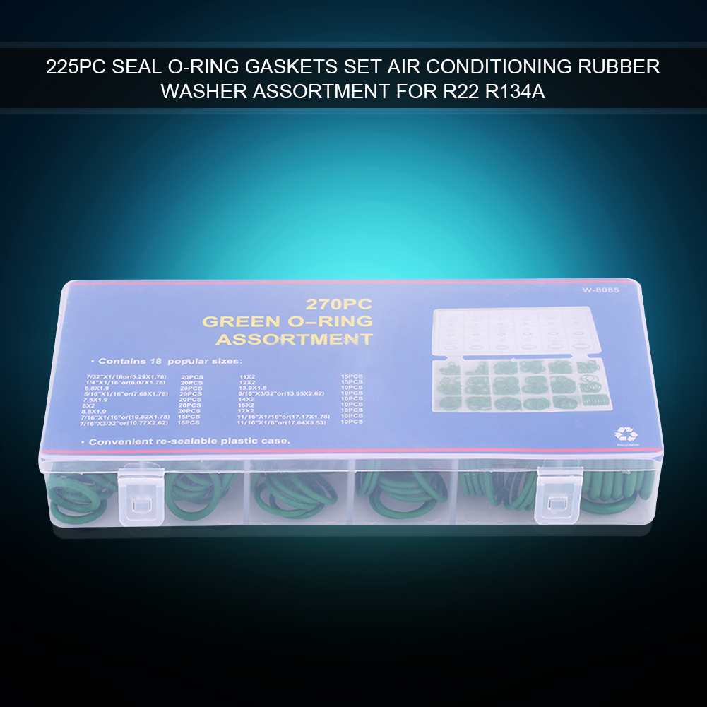 Green 270pcs Car Air Conditioning Compressor O-ring Seal Gasket Set Rubber Washer Seals