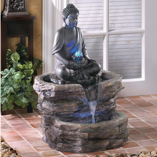 Zingz & Thingz Resin Zen Buddha Polyresin Fountain with L...