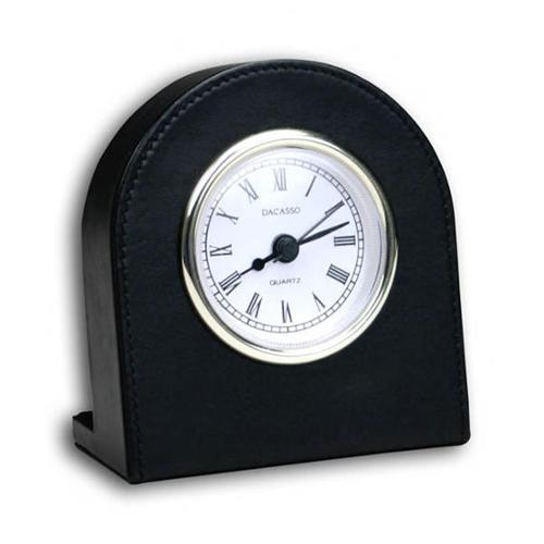 Dacasso A1016 Black Leather Desk Clock - Gold trim