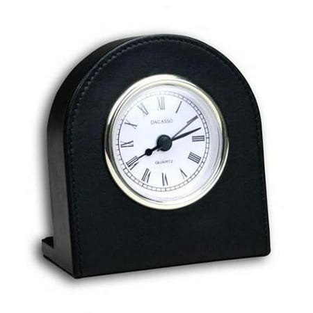 Dacasso A1016 Black Leather Desk Clock - Gold trim