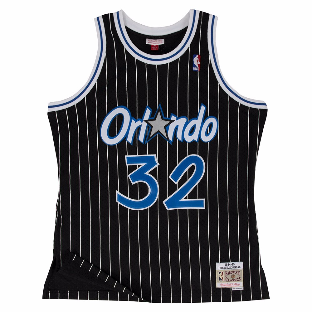 Shaquille O'Neal Orlando Magic NBA Mitchell & Ness Black 1994-95 Swingman Throwback Jersey For Men (M)