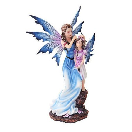 9 Inch Mother and Young Girl Blue Winged Fairy Statue Figurine - Fairy Wings To Decorate