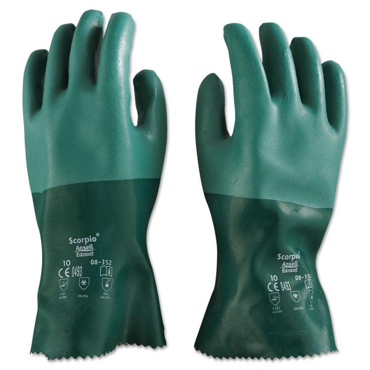 Scorpio Neoprene Gloves, Green, Size 10, 12 Pairs