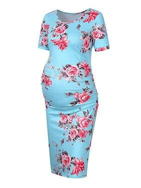 Women's Pregnancy Floral Maternity Bodycon Stretch Short Sleeve Dress