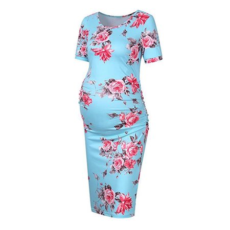 Women's Pregnancy Floral Maternity Bodycon Stretch Short Sleeve Dress Sleeve Belted Maternity Dress