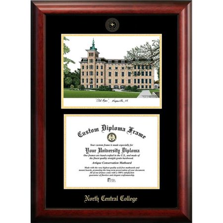 Campus Images IL984LGED-1185 8.5 x 11 in. North Central College Gold Embossed Diploma Satin Mahogany Frame with (College Lithograph)
