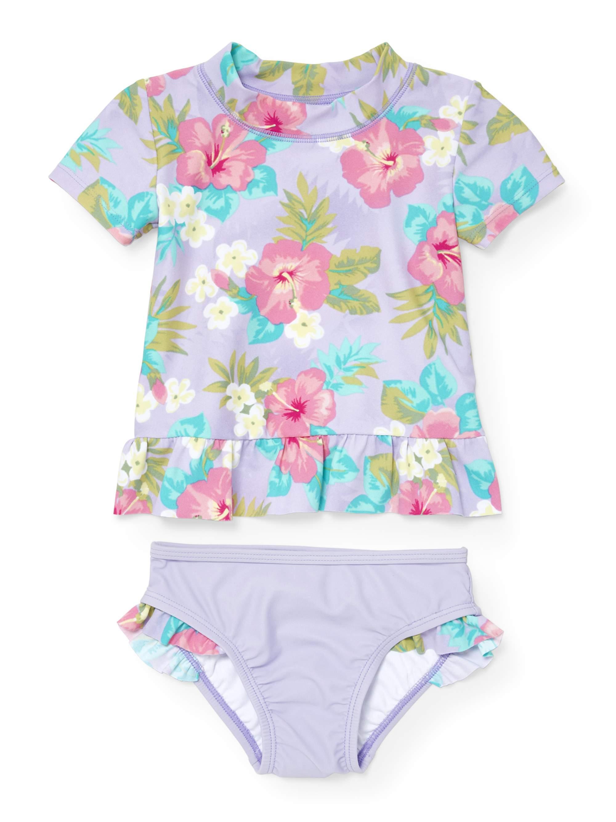 Baby And Toddler Girls Floral Rashguard Swim Set