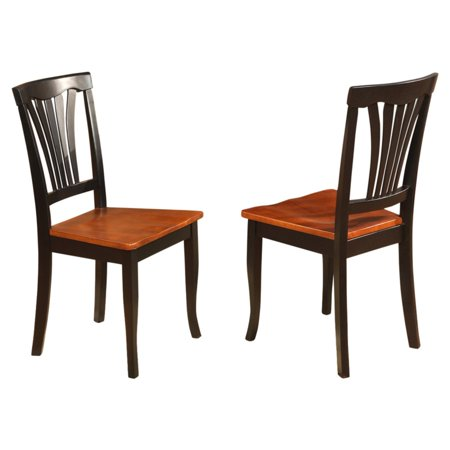 East West Furniture Avon Dining Chair with Wooden Seat - Set of 2 ()