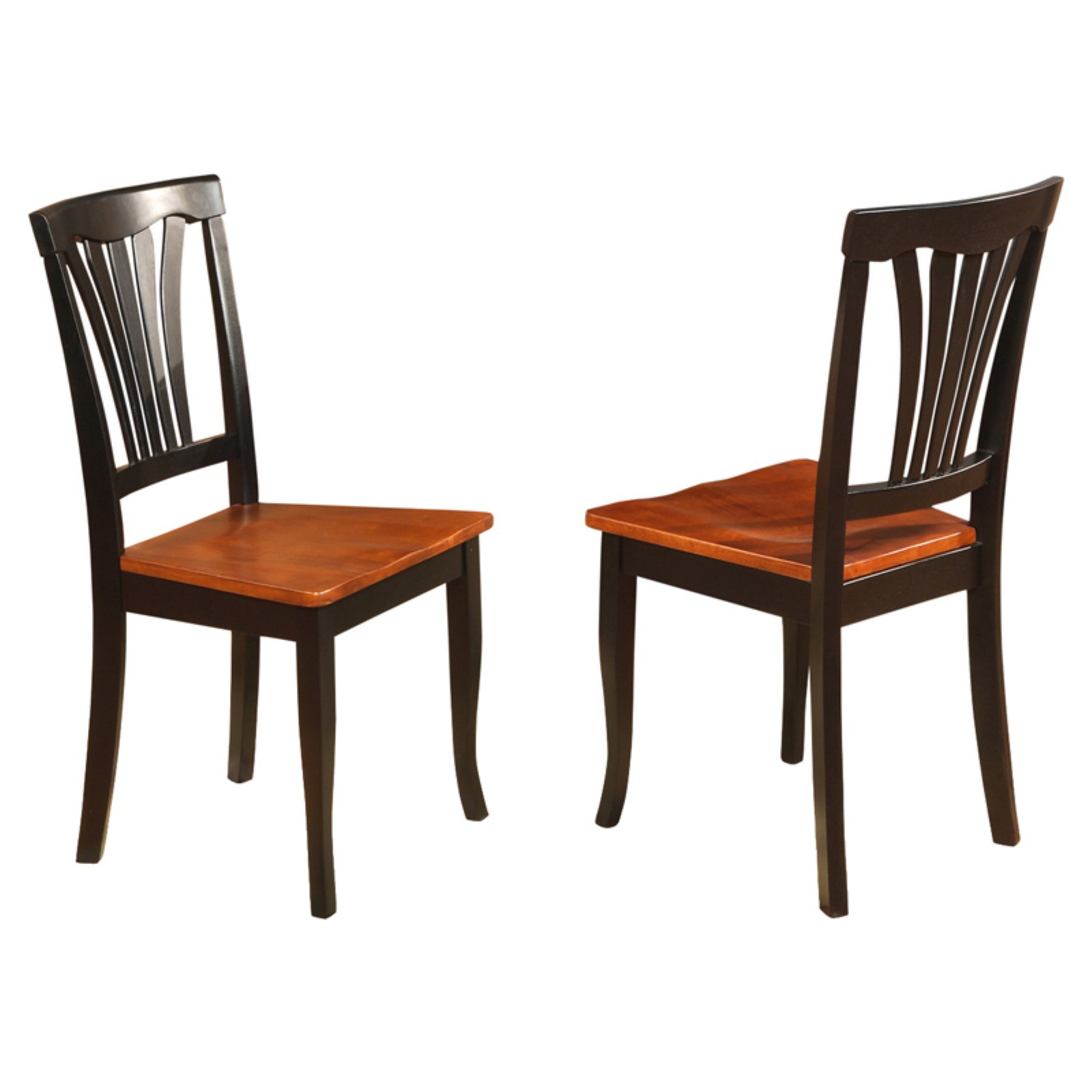 East West Furniture Avon Dining Chair with Wooden Seat - Set of 2