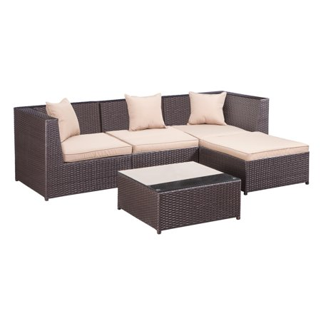 Palm Springs Outdoor 5 pc Furniture Wicker Patio Set w/ Chairs, Table &