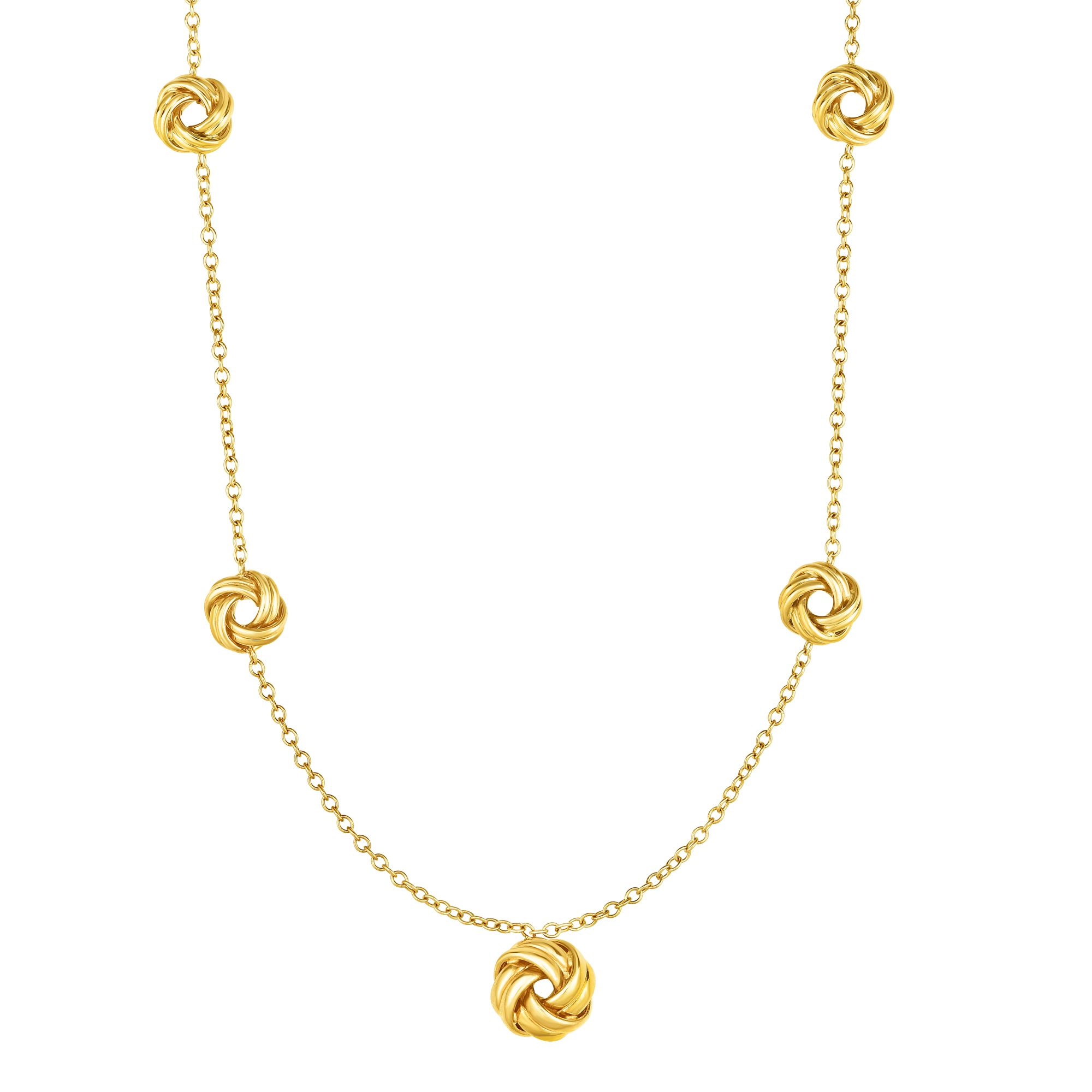 """10k Yellow Gold Fancy Love Knot Stationed Link Chain Necklace, Lobster Clasp-18"""" by JewelStop"""