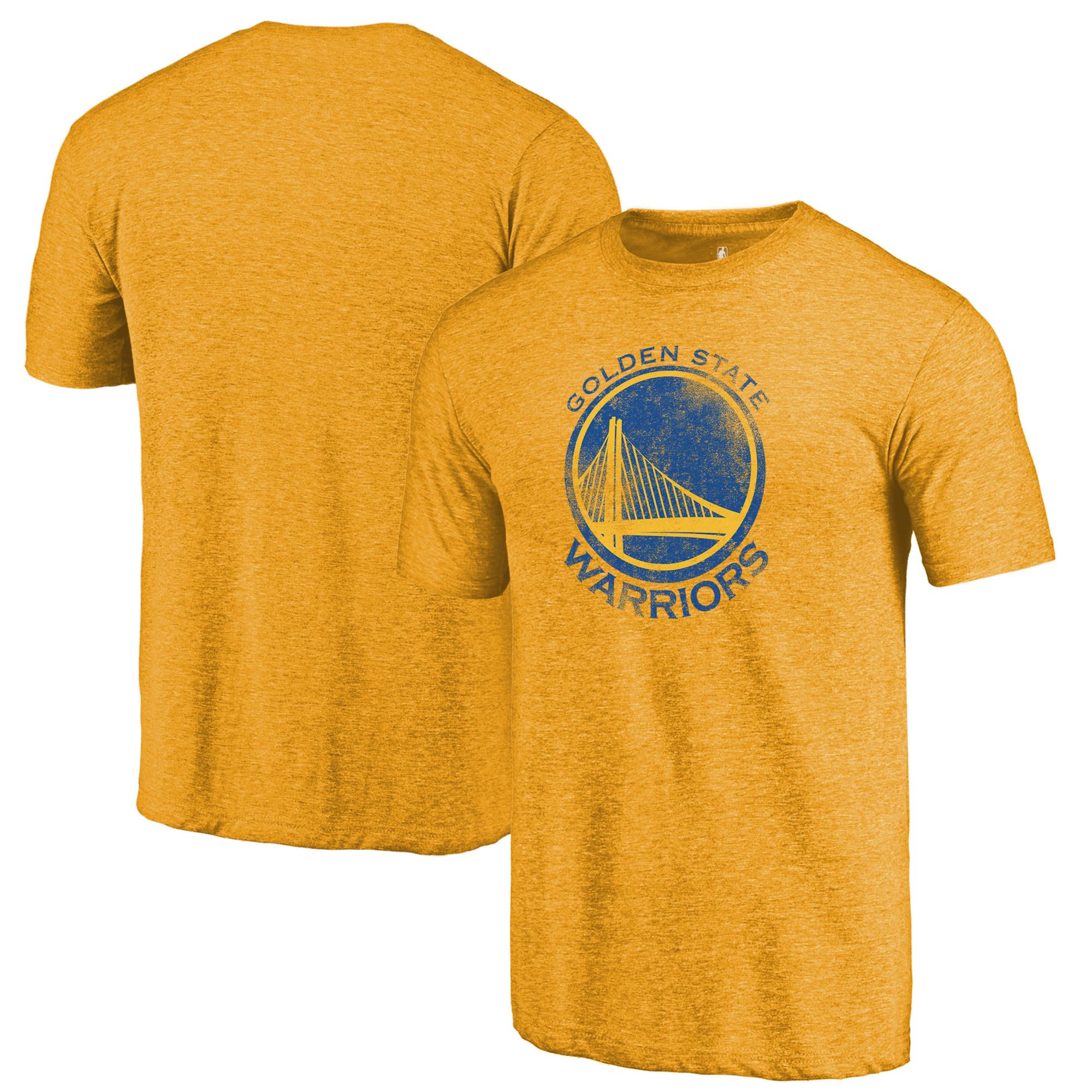 Golden State Warriors Fanatics Branded Distressed Logo Tri-Blend T-Shirt - Gold