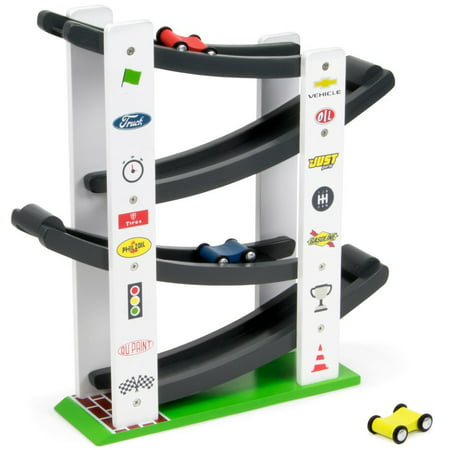 Imagination Generation Stock Car Ramp Racers Playset | Wooden Racing Track Toy with 3 Mini Vehicles (Car Ramp Toy)