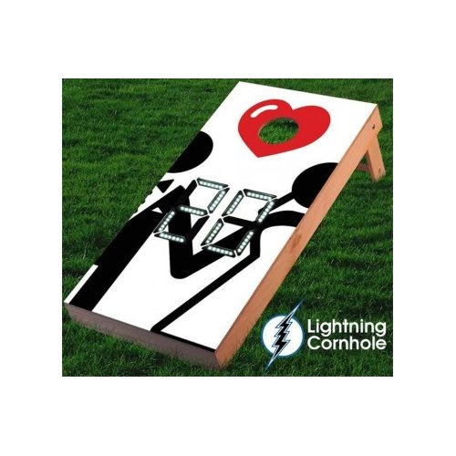 Lightning Cornhole Electronic Scoring Bride and Groom Cornhole Board