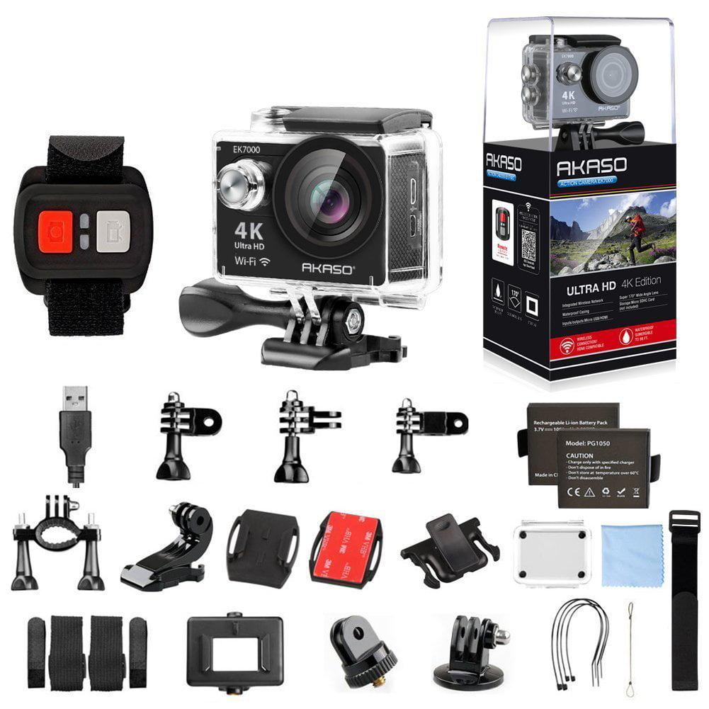 AKASO EK7000 4K WIFI Sports Action Camera Ultra HD Waterproof DV Camcorder 12MP 170 Degree Wide Angle Sage(Black)