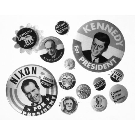 Campaign Buttons Nan Asssortment Of 20Th Century American Presidential Campaign Buttons Rolled Canvas Art -  (24 x - Campaign Button