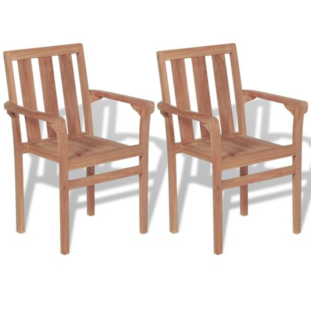 Stackable Garden Chairs 2 pcs Solid Teak Wood