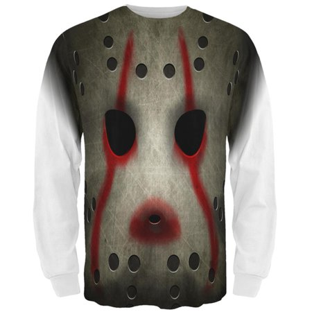 Halloween Horror Movie Hockey Mask Costume All Over Mens Long Sleeve T - Field Hockey Player Halloween Costume