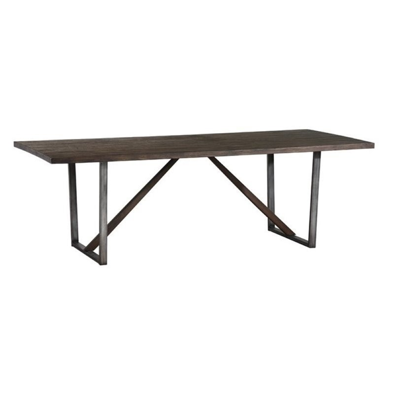 Bowery Hill U-Shaped Base Dining Table in Wire Brushed Cocoa by Bowery Hill