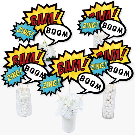BAM! Superhero - Baby Shower or Birthday Party Centerpiece Sticks - Table Toppers - Set of - Superhero Centerpieces