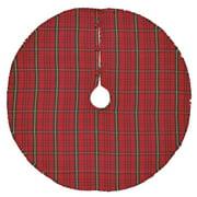 Classic Christmas Red Rustic Christmas Decor Jasper Cotton Cotton Burlap Plaid Round Tree Skirt