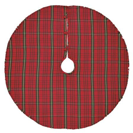 Red Rustic Christmas Decor Jasper Cotton Cotton Burlap Plaid Tree Skirt