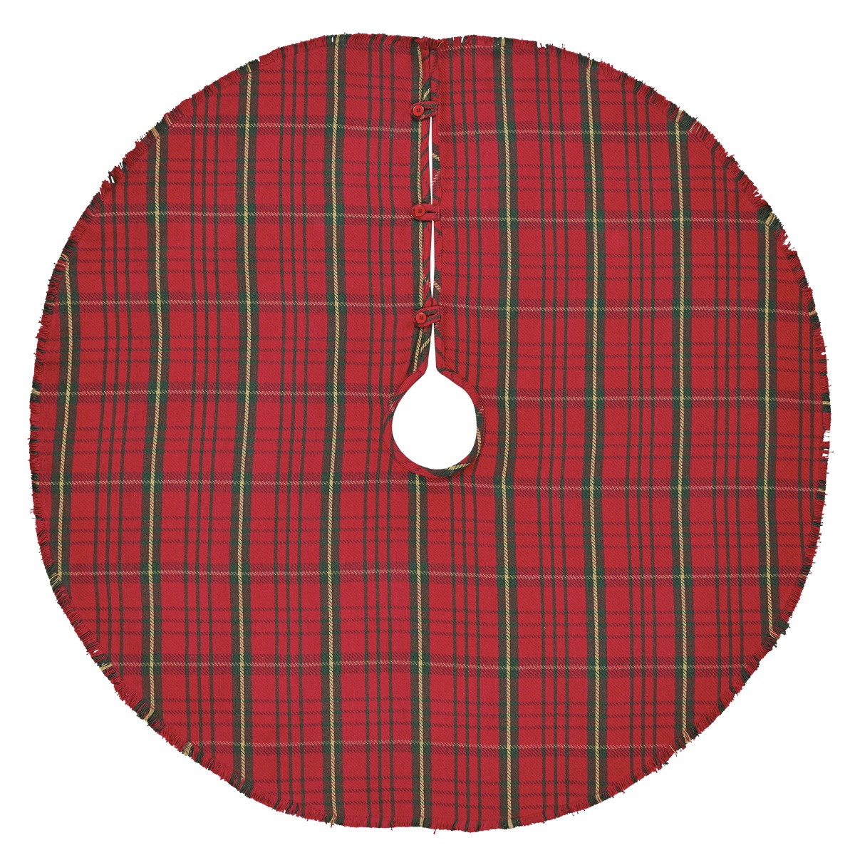 Red Rustic Christmas Decor Jasper Cotton Cotton Burlap Plaid Tree Skirt