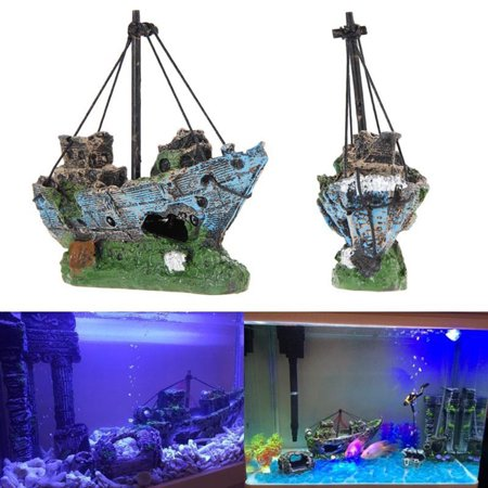 Holiday Clearance Fish Tank Decoration Aquarium Accessories Ornament Cave Landscape Castles Corsair - Ship Aquarium Decorations