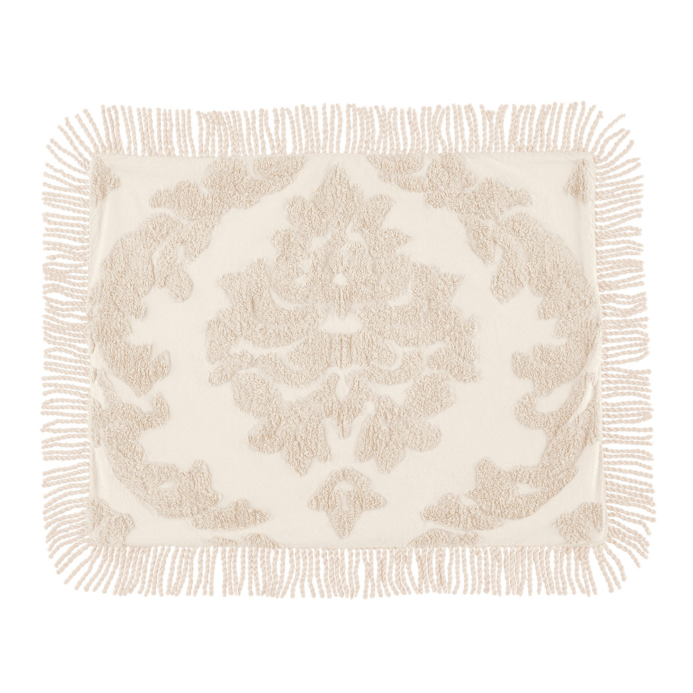 Logan Raised Medallion Chenille Pillow Sham with Fringe Border, Sham, Ivory