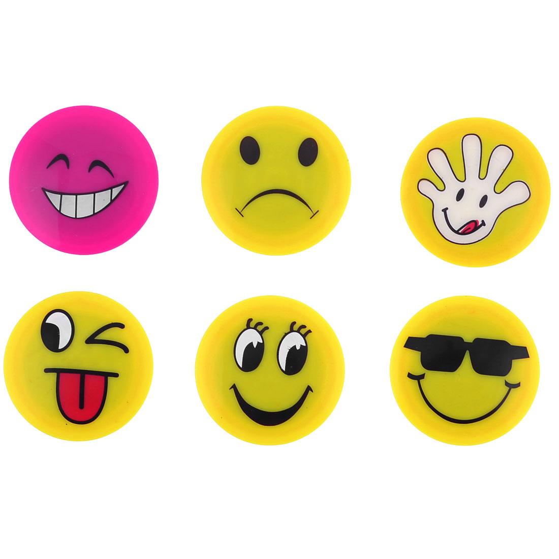 Cartoon Face Plastic File Cabinet Refrigerator Magnet Sticker 6PCS