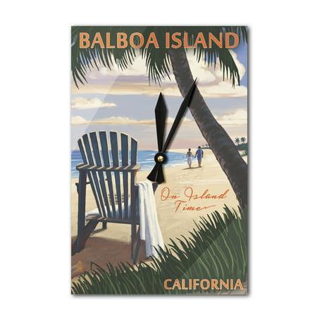 Balboa Island - On Island Time - Adirondack Chair on the Beach - Lantern Press Artwork (Acrylic Wall Clock)