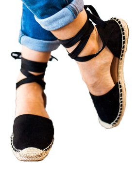 Womens Lace Up Sandals Flat Casual Espadrilles Pumps Ankle Strappy Party Shoes
