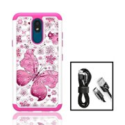 Phone Case for Straight Talk LG Journey Smartphone / LG Journey /LG Arena 2 / LG Escape Plus, Crystal Bling Shock-Resistant Cover Case + Charging Cable (White Pink Butterfly)