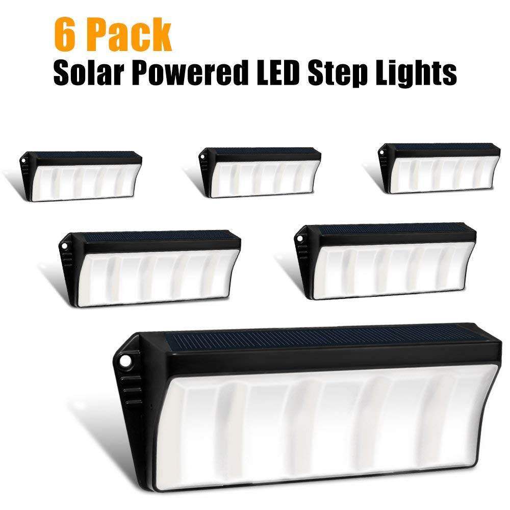 Solar Powered Stair Step Light, Wireless Waterproof Outdoor Lights Security Directive Decorative Lighting for Backyards Decks Driveway Fence Garden Garage Porch Pathway Patio Wall (6 Pack)
