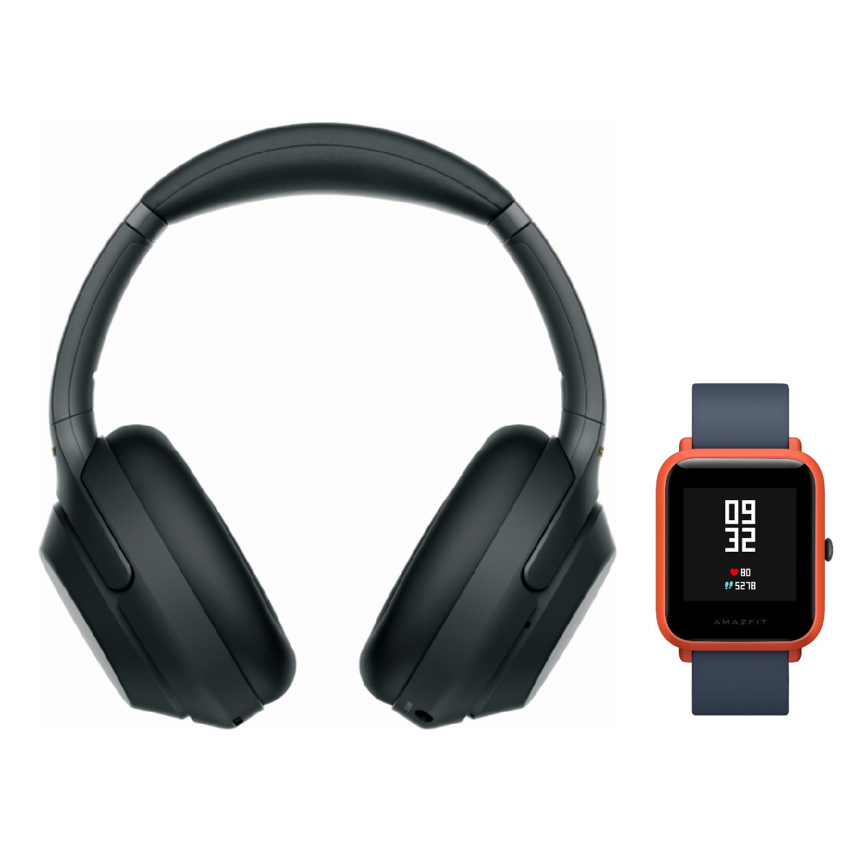 Sony WH-1000XM3 Wireless Headphones (Black) with Amazfit Bip (Cinnabar Red)